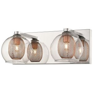 Doralice 2 Light G9 Polished Chrome Double Insulated Wall Light With Inner Copper Mesh & Outer Clear Glass