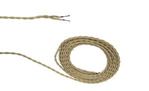 Cavo 1m Beige Braided Twisted 2 Core 0.75mm Cable VDE Approved (qty ordered will be supplied as one continuous length)