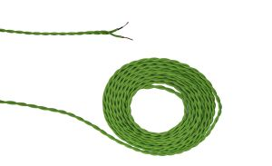 Cavo 1m Light Green Braided Twisted 2 Core 0.75mm Cable VDE Approved (qty ordered will be supplied as one continuous length)