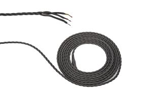 Cavo 1m Grey Braided Twisted 3 Core 0.75mm Cable VDE Approved (qty ordered will be supplied as one continuous length)