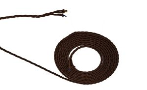 Cavo 1m Brown Braided Twisted 3 Core 0.75mm Cable VDE Approved (qty ordered will be supplied as one continuous length)