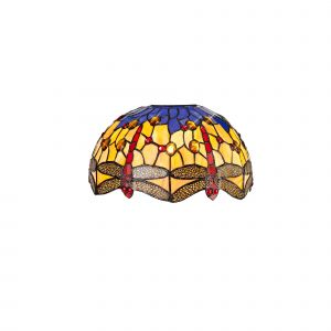 Nu Crown Tiffany 30cm Non-electric Shade Suitable For Pendant/Ceiling/Table Lamp, Blue/Orange/Crystal
