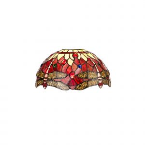 Nu Crown Tiffany 30cm Non-electric Shade Suitable For Pendant/Ceiling/Table Lamp, Purple/Pink/Crystal