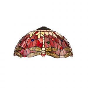 Nu Crown Tiffany 40cm Shade Only Suitable For Pendant/Ceiling/Table Lamp, Purple/Pink/Crystal
