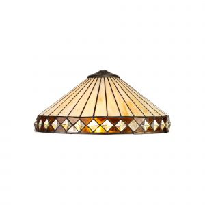 Nu Tiffon Tiffany 40cm Shade Only Suitable For Pendant/Ceiling/Table Lamp, Amber/CCrain/Crystal