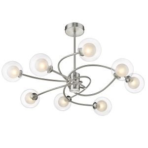 Victor 8 Light G9 Satin Nikel Semi Flush Fitting With Opal Inner Glass & Clear Outer Glass