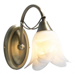 DAR DOU0775 Doublet Single Wall Light Antique Brass/Clear Glass Finish Switched