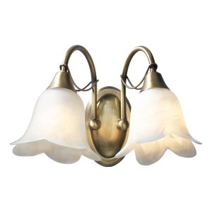 DAR DOU0975 Doublet Double Wall Light Antique Brass/Clear Glass Finish Switched