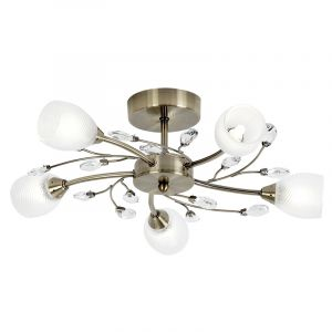 Endon DOUGLAS-5AB 5 Light Ceiling Fitting In Antique Brass With Glass Shades 5 Light In Brass