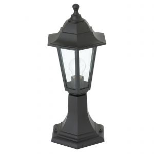 Bayswater Single Outdoor Pedestal Black/Clear Glass Finish