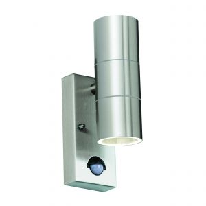 Canon Double PIR Outdoor Wall Light Stainless Steel/Clear Glass Finish