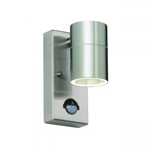 Canon Single PIR Outdoor Wall Light Stainless Steel/Clear Glass Finish