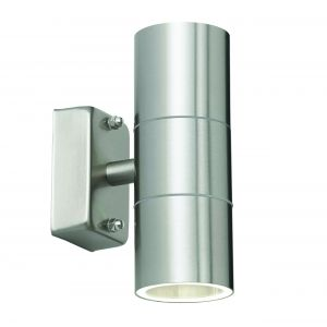 Canon Double Outdoor Wall Light Stainless Steel/Clear Glass Finish