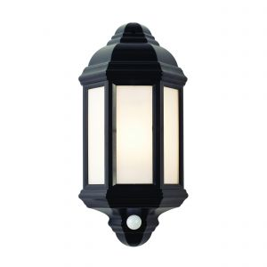 Halbury Single PIR Outdoor Wall Light Black/Frosted Finish
