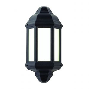 Halbury Single LED Outdoor Wall Light Black/Frosted Finish