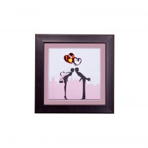 Diyas Home IL70525 (DH) Emotion Couple Kissing, Black Frame Red, Pink Crystal