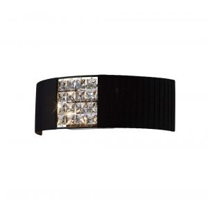 Diyas IL31171/BL Evelyn Wall Lamp With Black Shade 2 Light Polished Chrome/Crystal