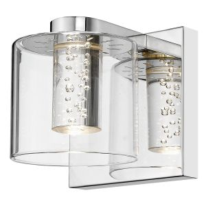 Zeus 1 Light Integrated LED Double Insulated Polished Chrome Wall Light