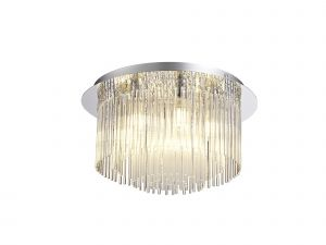 Faxton Ceiling Light, 6 x G9, IP44, Polished Chrome/Clear Glass
