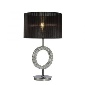 Diyas IL31724 Florence Round Table Lamp With Black Shade 1 Light Polished Chrome/Crystal