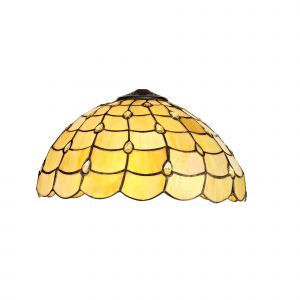 Nu Regis, Tiffany 40cm Shade Only Suitable For Pendant/Ceiling/Table Lamp, Beige/Clear Crystal