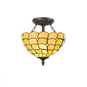 Nu Florence, Tiffany 30cm Shade, Beige/Clear Crystal c/w Semi Ceiling Kit, 2 x E27, Aged Antique Brass