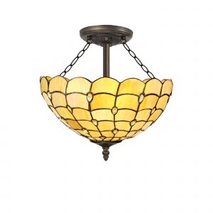 Nu Florence, Tiffany 40cm Shade, Beige/Clear Crystal c/w Semi Ceiling Kit, 3 x E27, Aged Antique Brass