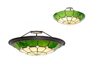 Galactic, Tiffany 35cm Non-Electric Uplighter Shade, Ccrain/Green/Clear Crystal Centre/Aged Antique Brass Trim