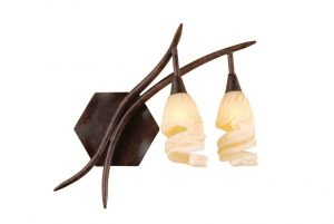 *## (0017 005) Gaudi Wall Lamp Right Switched 2 Light G9, Brown/Black Oxide