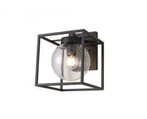 Nu Anner Down Wall Lamp, 1 x E27, IP54, Anthracite/Clear Seeded Glass, 2yrs Warranty