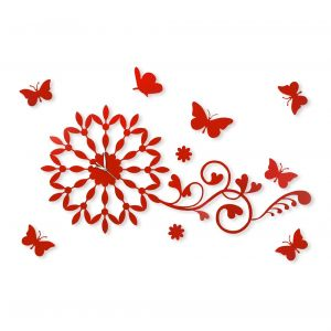 Diyas Home IL70098  (DH) Infinity Butterfly Wall Art Clock Red/Crystal