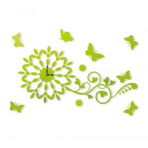 Diyas Home IL70099 (DH) Infinity Butterfly Wall Art Clock Green/Crystal