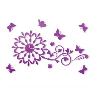 Diyas Home IL70100  (DH) Infinity Butterfly Wall Art Clock Purple/Crystal