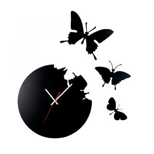 Diyas Home IL70111 (DH) Infinity Cutout Butterfly Clock Black