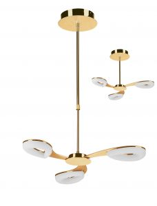 Mantra M8271 Juno Telescopic Semi Flush Convertible 3 Light 15W LED 3000K, 1350lm, Satin Gold/Frosted Acrylic/Gold, 3yrs Warranty