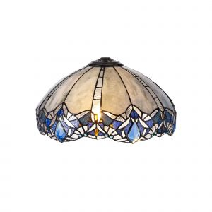Nu Molly, Tiffany 40cm Shade Only Suitable For Pendant/Ceiling/Table Lamp, Blue/Clear Crystal