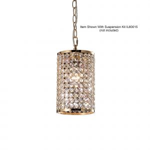 Diyas IL30761 Kudo Cylinder Non-Electric SHADE ONLY French Gold/Crystal