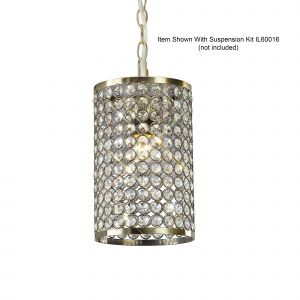 Diyas IL60030 Kudo Crystal Cylinder Non-Electric SHADE ONLY Antique Brass/Crystal