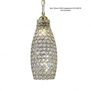 Diyas IL60033 Kudo Crystal Drum Non-Electric SHADE ONLY Antique Brass/Crystal