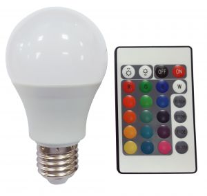 Dimmable LED GLS E27, 7.5W RGB With Remote Control