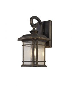Nu Biella Small Wall Lamp, 1 x E27, Brushed Black Gold/Seeded Glass, IP54, 2yrs Warranty