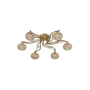 Diyas IL30966 Leimo Ceiling 6 Light French Gold/Crystal