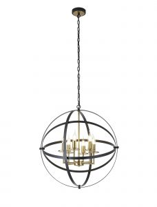 Linso E14, 6 Light Adjustable 2 Tone Round Pendant In Black/Gold