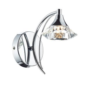 DAR LUT0750 Luther Single Wall Light Polished Chrome/Crystal Finish Switched