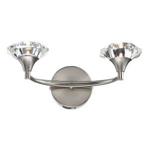 DAR LUT0946 Luther Double Wall Light Satin Chrome/Crystal Finish Switched