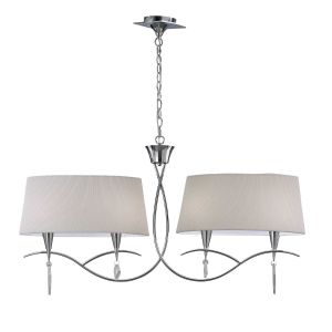 Mantra M1642FG Mara Linear Linear Pendant 2 Arm 4 Light E14, French Gold With Ivory White Shades