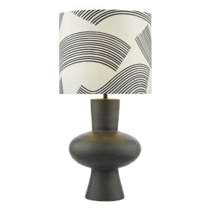 Miho 1 Light E27 Black/Bronze Table Lamp C/W Ccrain And Black Patterned Linen Shade