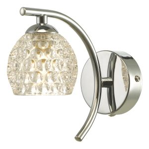 Nakita 1 Light G9 Single Wall Light Polished Chrome Finish With Dimpled Glass Shade With Pull Cord Switch