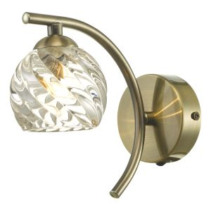 Nakita 1 Light G9 Single Wall Light Antique Brass Finish With Twisted Open Glass Shade With Pull Cord Switch
