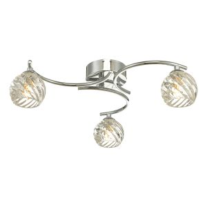 Nakita 3 Light G9 Flush Polished Chrome Fitting With Twisted Open Glass Shades